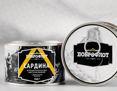 Packaging design for canned fish Dobroflot