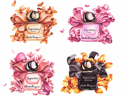 Signorina watercolours for Salvatore Ferragamo