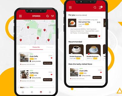 Coffee and Tea Ordering App UI.