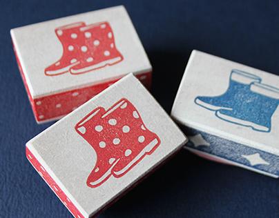 Cute rain boot stamps