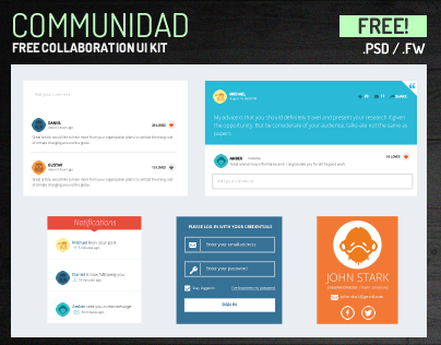 Free PSD UI Kit for Collaboration