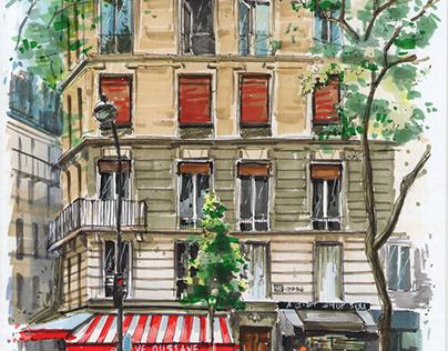Paris street scene / Paris Cityscape / Illustrations