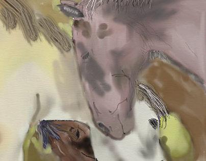 horses aquerela