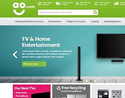 ao.com homepage, header and footer design