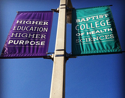 Pole banners for Baptist College
