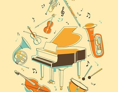 Classic musical instruments in vintage style