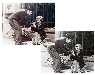 Colorisation of a scene from Chaplin's City Lights