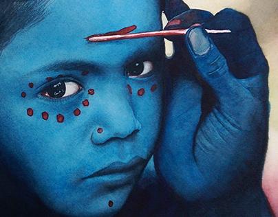 Watercolor portrait - Girl in Blue