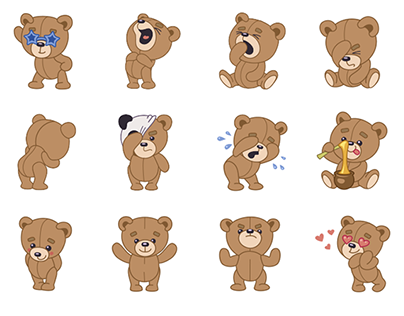 teddy bear stickers for imo on behance