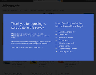 Microsoft Site Feedback Survey