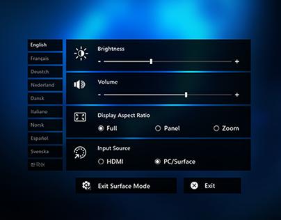 On Screen Display (Settings) for Microsoft PixelSense