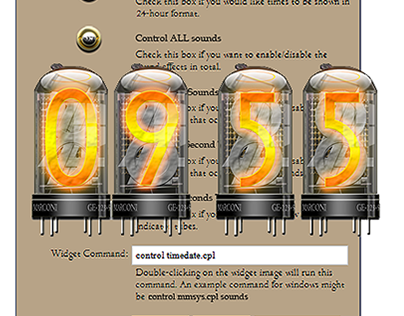 Cyberpunk thermionic nixie tube valve widget