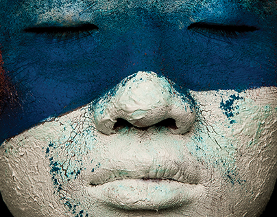 White and blue face