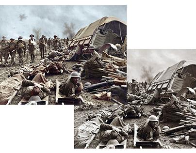 Colorisation of photograph First World War battlefield