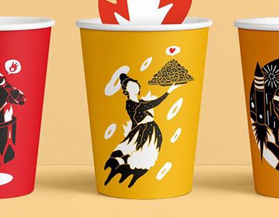 coffee to go mugs illustrations for Teika