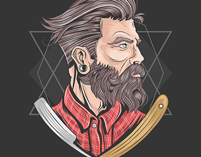 BARBER HAIR STYLE ARTWORK VECTOR