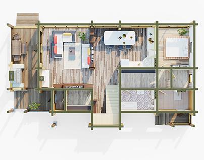 3D-планировка двухэтажного дома из клееного бруса