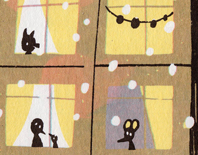 """The December yard"" / screenprinting"