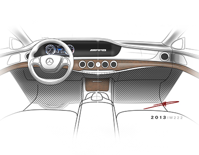Mercedes Benz S class interior sketches