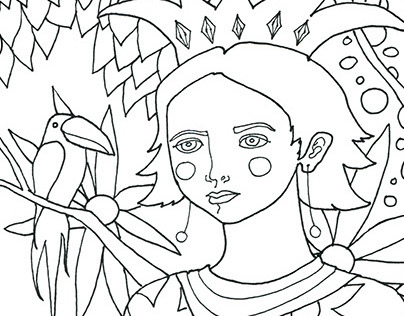 Queen of Flowers - Coloring Page