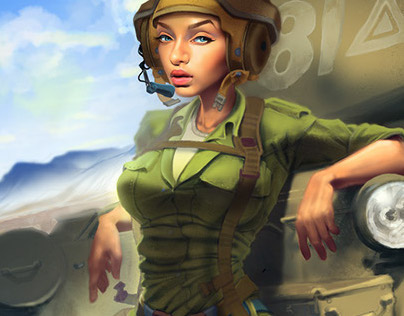 Army/Tank Pinup Girl [Tutorial for 2D Artist Magazine]