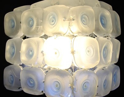 Lamp made out of 45 rcycled plastic bottles