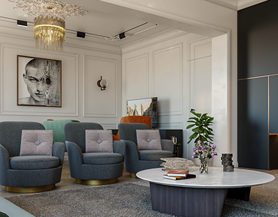 A Neoclassical Reception With Living Area