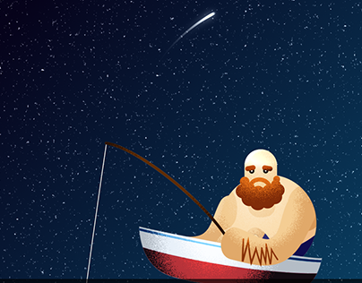 Fishing in the starry night