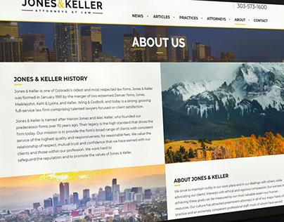 Jones & Keller website design, WordPress