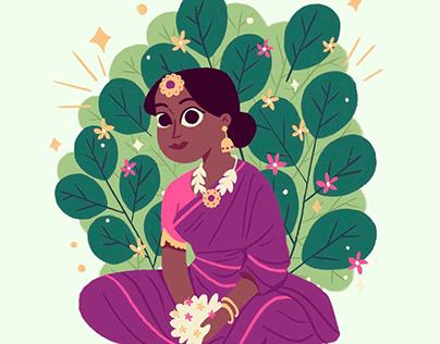 Lady with mogra flowers