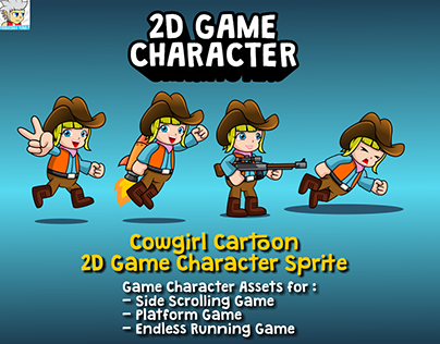 Cowgirl Cartoon 2D Game Character Sprite