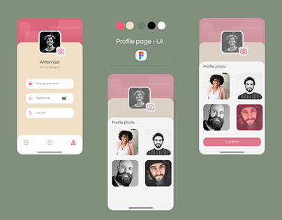 User profile app -UI (pink & green)