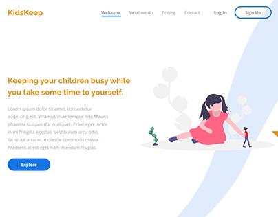 KidsKeep Landing Page UI Design