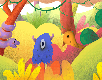 Colorful Jungle Illustration
