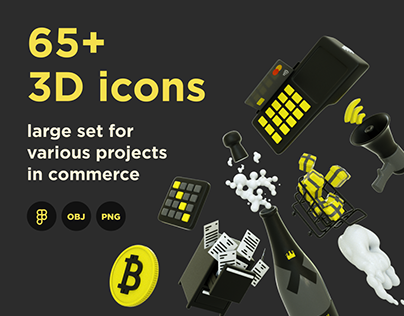 3D icons large set for business