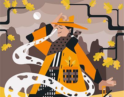 Truffle Hunting Illustration