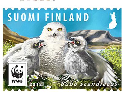 Endangered species post stamps for Posti Finland 2018