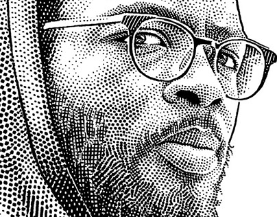 Stipple portrait of musician