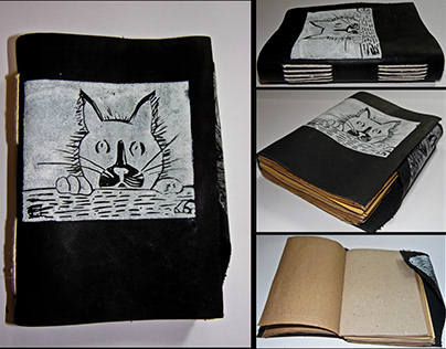 Leather Cover Notebook, Linocut Workshop