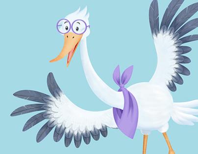 Stork character design and illustration