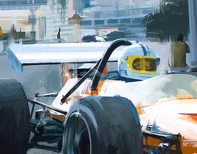 McLaren M14A digital painting from photograph