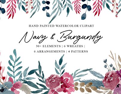 Navy & Burgundy Clipart Set