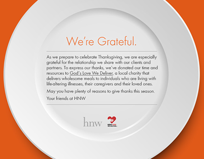HNW's Thanksgiving Holiday Email