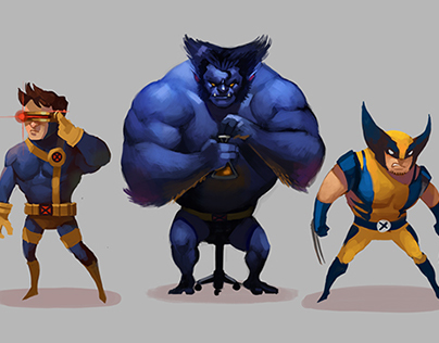 X-Men character paintings