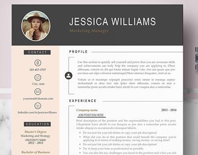 Professional & Modern Resume Template - Jessica