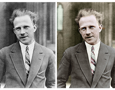 Colorisation of a photograph of Werner Heisenberg