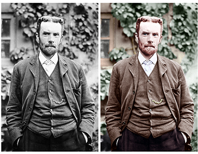 Colorisation of a photograph of Oliver Heaviside