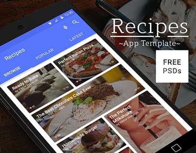Recipes - Material Design - Free App Mockup