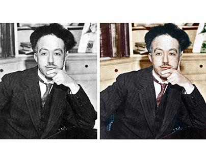 Colorisation of a photograph of Louis de Broglie