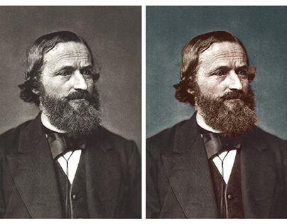 Colorisation of a photograph of Gustav Kirchhoff